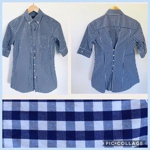 Blue Gingham Button-Down Tunic
